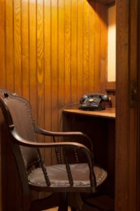 Telephone and chair